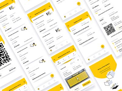 InPost mobile app geometric yellow ux ui design mobile delivery app simple inpost delivery ui