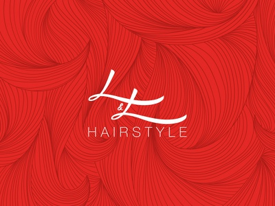 L&L Hairstyle logo design hairstylist red branding brand hairstyle hair ll logo
