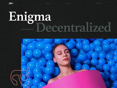 Enigma Case Study page scroll animation bold typography case study design web website zajno