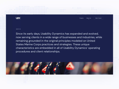 About Us Page for a Software Development Company light colour palette pastel colors development smooth transitions animation software business minimal slick clean about us page web design website