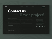 Zajno Website Contact Us Page button unconventional layout progressive product design studio business brutal texture bold typography contrast dark contact form web design website zajno