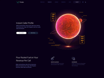 Ringba Telecom Website Product Page Scroll page scroll animation interaction design interactions dark technology art futuristic abstract visual orb space cosmic website web design zajno