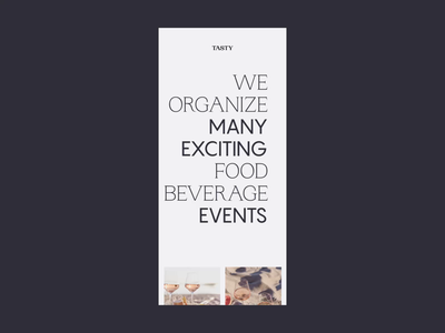 Responsive Website Animation for Tasting Events Organizer animation bold typography font photography experience event tasting drinks food wine responsive design responsive accent line clean minimalist minimal web design website landing page zajno