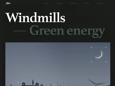 Windmills Case Study page scroll bold brutal energy moss green energy wind turbine windmill photo photography works page case study web design zajno