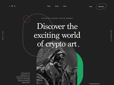 Crypto Art Landing Page Animation landing page outline postmodern modern minimal geometric web platform digital vibrant dark visual blockchain art motion design crypto website zajno smooth slick animation