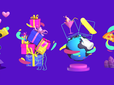 Animated Onboarding for Altrüus Gifting App cinema 4d c4d lively vibrant bright onboarding altruus present gift 3d animated onboarding motion design mobile mobile app animation zajno