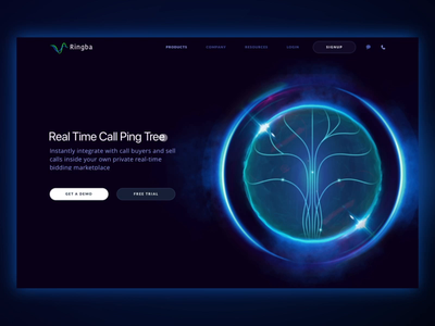 New Product Page Design for Global Telecommunications Platform page scroll video animation neat smooth tree cosmos space orb dark colors abstract promo website futuristic revolutionary technology web design new product ringba ux ui zajno
