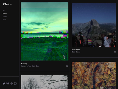 Zajno Inspiration Grid Goes on Product Hunt feed community share launch dark colors black  white vibes music art video glitch grid inspiration web source product hunt business product design branding zajno