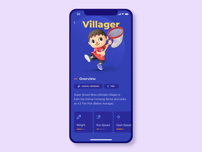 Mobile App Design for Crossover Fighting Game animated design profile experiment mobile interface game application vivid bright colors vibrant mobile app video games gamer play fighting game crossover animation character zajno ui ux