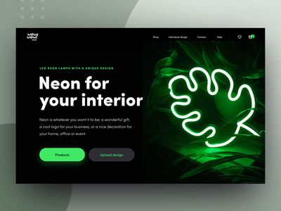 Website Design Animation for Neon Startup button effect animation promo experience interior design product iridescent ux ui data visualization accent startup experimental experiment neon dark website animated web design zajno