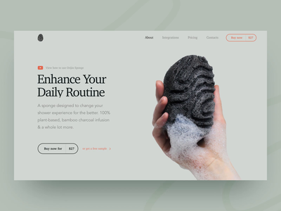 Promo Website Animation for Bamboo Charcoal Sponge page scroll animation whitespace utilization neat composition simple layout pastel colors minimal minimalist clean natural promo experience product ui ux data visualization startup experimental experiment animated website web design zajno