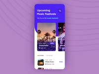 Mobile App Animation for Hunting Music Festivals technology motion transition animated experience service festival music bright colors whitespace minimalist simple clean animation search mobile data visualization application interface mobile app design zajno ui ux
