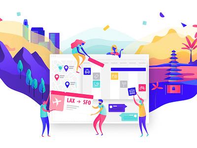 Rise timeline planning itinerary service travel ux landscape interactive illustration app ui gobelins design
