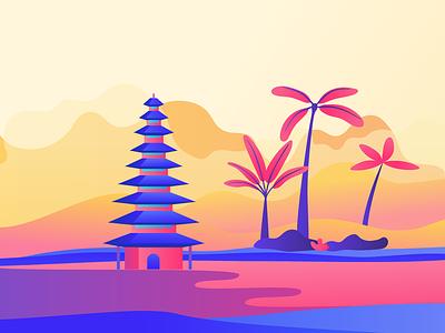 Rise temple pink orange clouds palmtree sunset sunrise sea bali illustration interactive app gobelins design