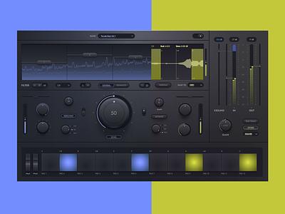 Dark UI kit button switch controlls neon lemon violet dark knob audio music graphic design typography ui ux vector illustration flat design 2d