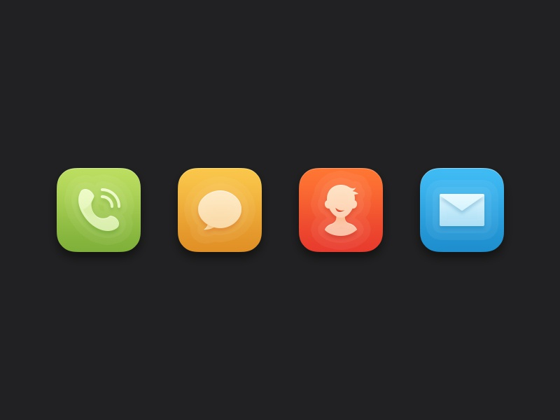 Theme icon color call message email contact clean