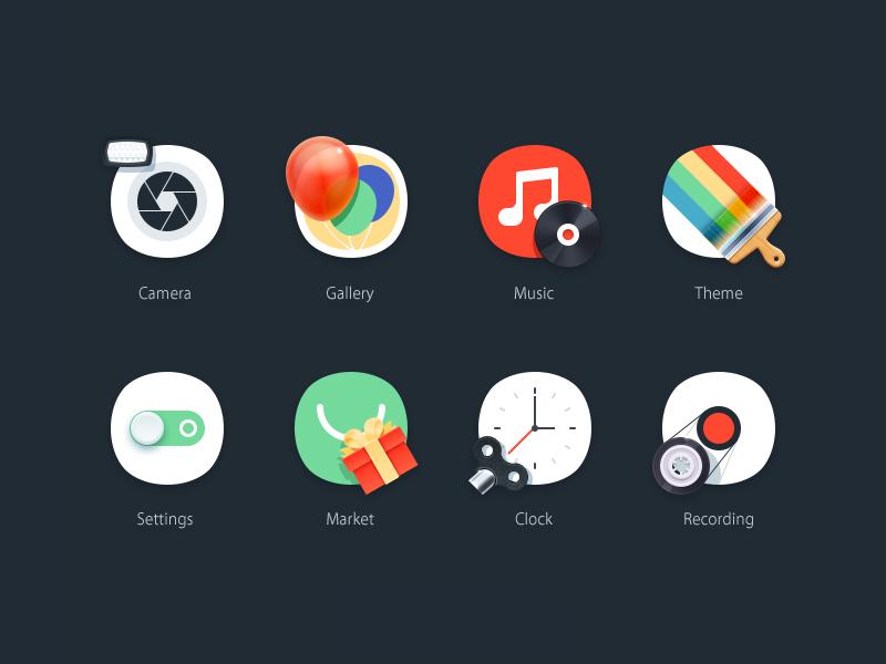 theme icons ui icon theme flat skeuomorph camera gallery music setting market clock recording