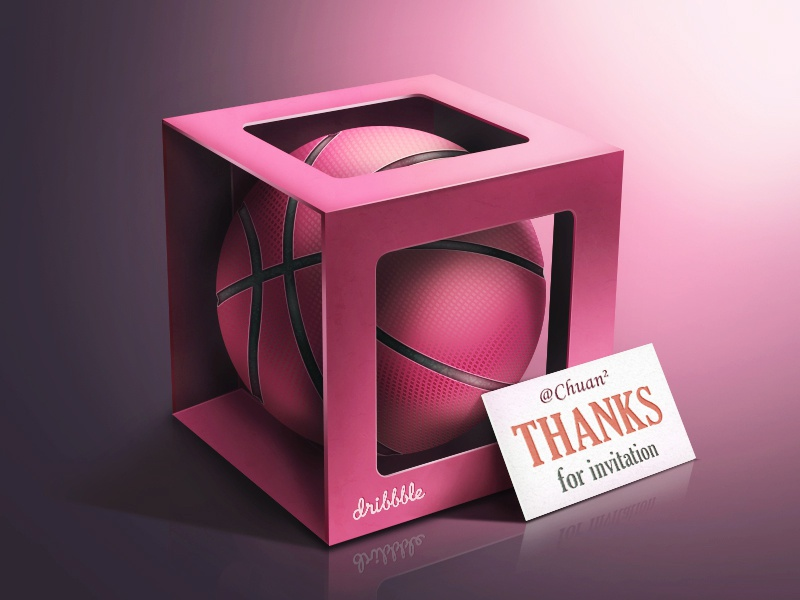 Thank you, woodmouse! dribbble thanks invitation basketball box 牛mo王