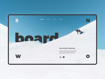 Snowboard Shop Homepage snowboard snow winter mountains concept ui ux homepage web
