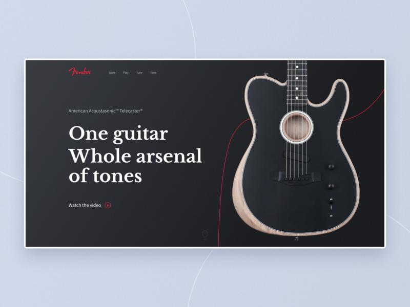 Fender Acoustosonic Telecaster minimal first screen fender guitar music web typography ux ui design