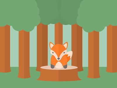 Fox Dream inkscape trees color animal fox vector flatart
