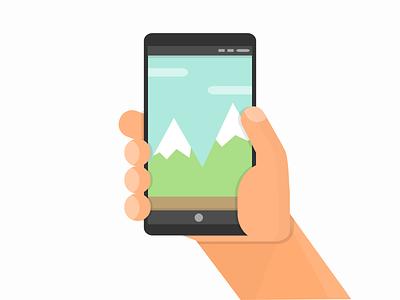 Phone in Hand hand wallpaper phone vector flatart