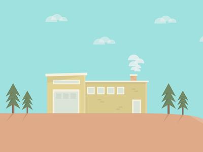 Ocean Front Property illustration vector flatart trees wallpaper house retro