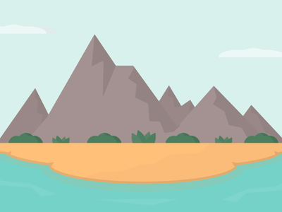 Island in the Sun inkscape mountains color ocean landscape vector flatart