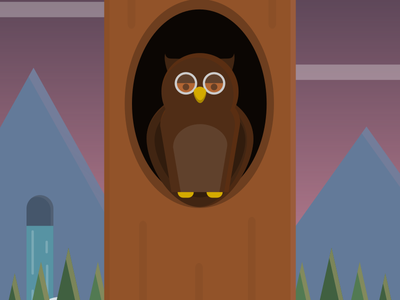 Owling around inkscape trees color animal owl vector flatart