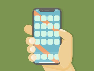 New Phone, New Hand design affinity designer hand phone tech illustration color flatart vector