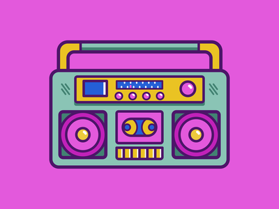 Boombox- tell me how to improve it retro boombox design illustration color flatart vector