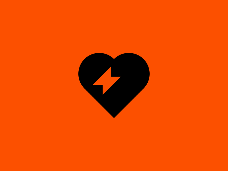 A heart with a spark. iconography love orange lightning logo lightning bolt lightning heart logo heart exploration identity brand identity brand identity design symbol icon monogram brand branding logo