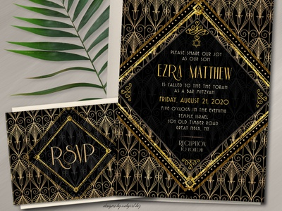 Black Gold Bar Mitzvah Invite & RSVP print design invitation set rsvp card art deco invitation template invitation card bar mitzvah