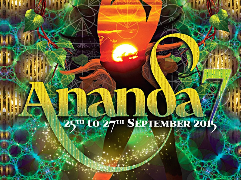 Ananda7 A4flyer Front back music open air outdoor party psytrance graphic design party flyer flyer