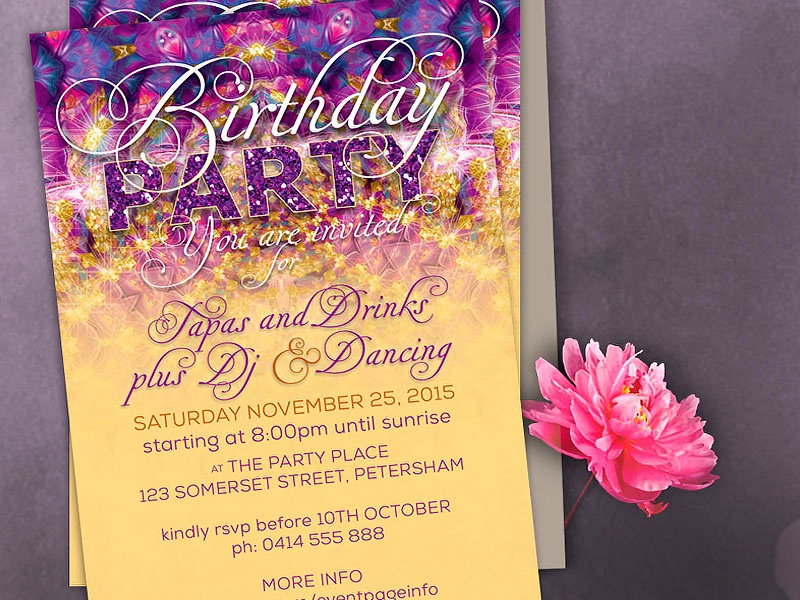 magical sparkling birthday party invitation template by webgrrl