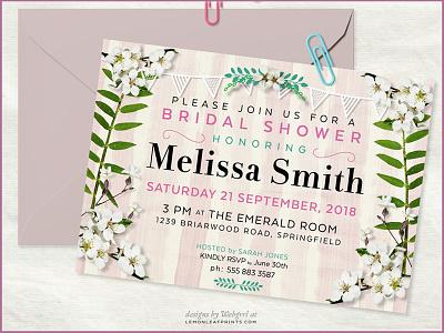 5X7 Invitation | Bridal Shower invitation design invites invitations print bridal shower weddings lemonleafprints template invitation