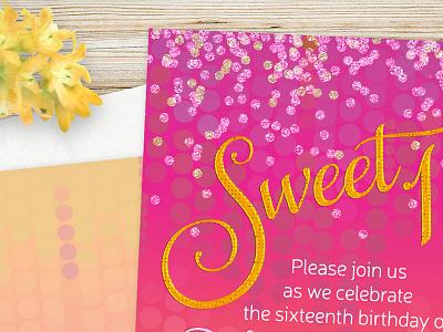 Invitation design | Pink Candy Sweet 16 invitation design invitation invites invitations print print design graphic design invitation cards lemonleafprints