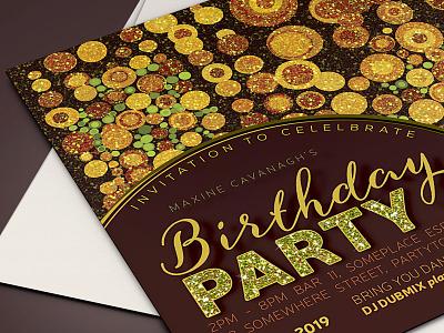 Gold Grunge Dots | Invitation card invitation design invitation invites invitations print glitter lemonleafprints birthday invitation flatcard
