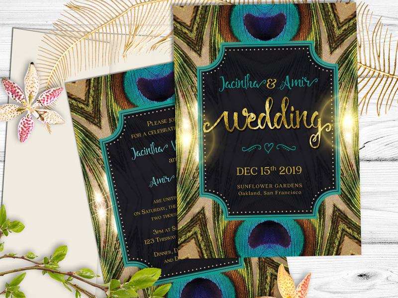 Wedding Invitation Peacock Feathers By Webgrrl Firdaus Dribbble