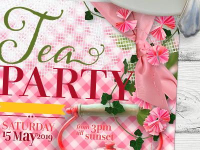 Vintage Retro Tea Party feminine fun pink lemonleafprints printed invitations tea party invitations
