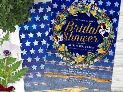 Stars and Stripes Bridal Shower weddings invitation design invites invitations print bridal shower invitation