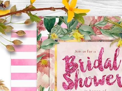 Pink Floral Garden Bridal Shower Invitation invitation design invitation invites invitations print floral bridal shower weddings printed invitation