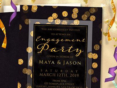 Gold Confetti on Black Engagement Invitation invitation design engagement invitations weddings black and gold gold black digital glitter printed invitations