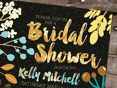 Earthy Boho Woodsy Bridal Shower custom design invitations earthy tones nature wedding bridal shower graphic design printed invitations bridal shower invitation