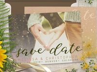 Save the Date Bokeh Photo Overlay Card