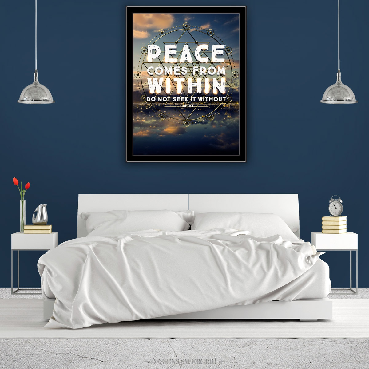 Peacewithin 30happywords framebedroomsq