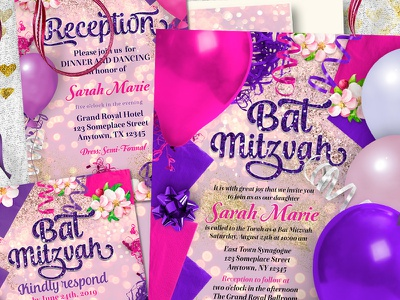 Party Balloons Bat Mitzvah Suite graphic design print design printed invitation invitation suite invitation cards
