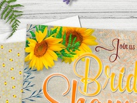 Vintage Summer Sunflowers Bridal Shower Invitation