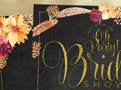 Bridal Shower Invitation | Bohemian Chalkboard