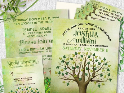Tree of Life Bar Mitzvah Invitation Set nature green graphic design print design invitation cards printed invitation bar mitzvah